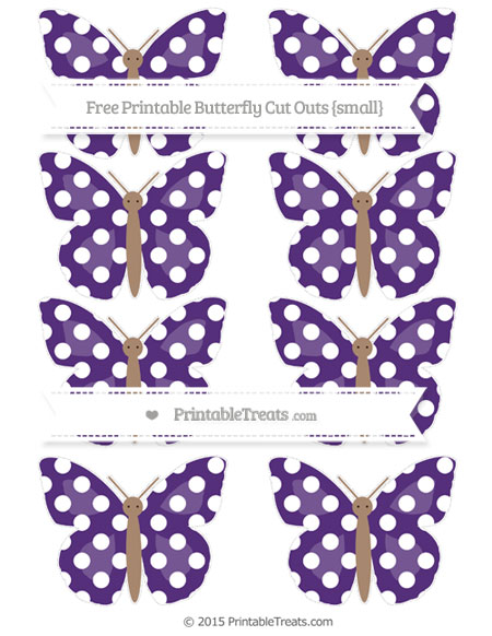 Free Royal Purple Polka Dot Small Butterfly Cut Outs