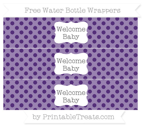 Free Royal Purple Polka Dot Welcome Baby Water Bottle Wrappers