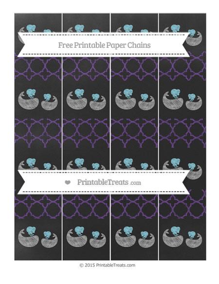 Free Royal Purple Quatrefoil Pattern Chalk Style Baby Whale Paper Chains