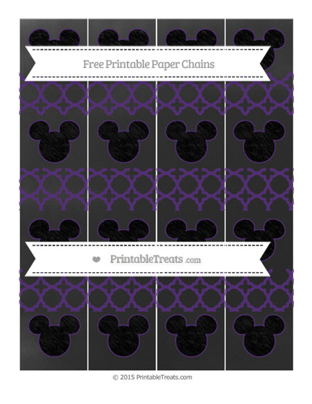 Free Royal Purple Quatrefoil Pattern Chalk Style Mickey Mouse Paper Chains