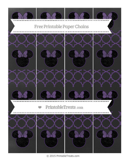 Free Royal Purple Quatrefoil Pattern Chalk Style Minnie Mouse Paper Chains