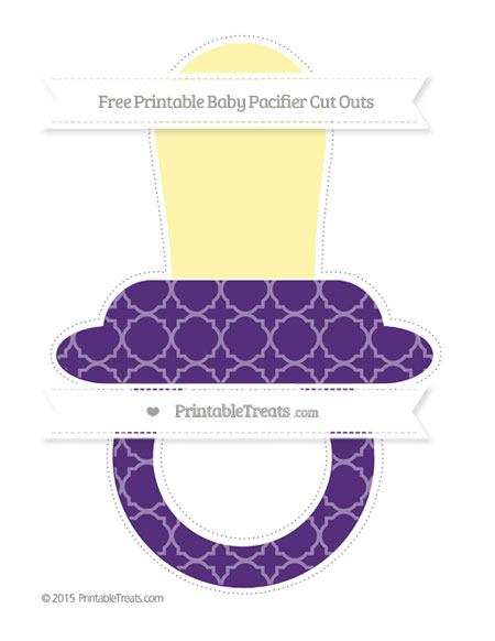 Free Royal Purple Quatrefoil Pattern Extra Large Baby Pacifier Cut Outs