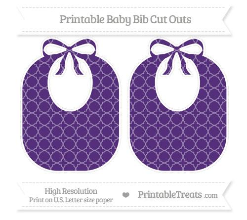Free Royal Purple Quatrefoil Pattern Large Baby Bib Cut Outs