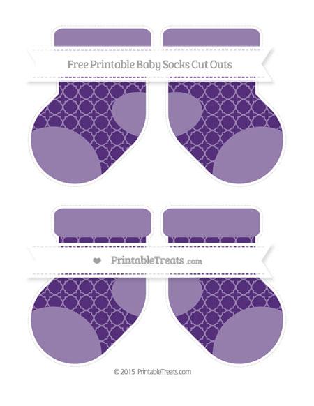 Free Royal Purple Quatrefoil Pattern Medium Baby Socks Cut Outs