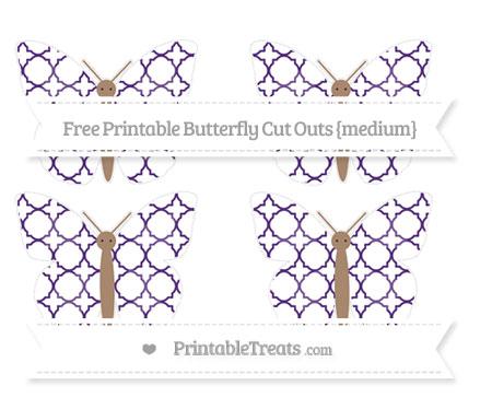 Free Royal Purple Quatrefoil Pattern Medium Butterfly Cut Outs