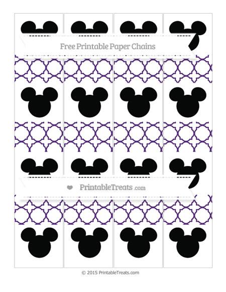 Free Royal Purple Quatrefoil Pattern Mickey Mouse Paper Chains