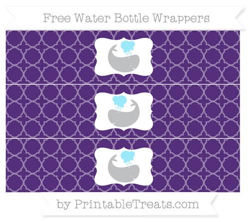 Free Royal Purple Quatrefoil Pattern Whale Water Bottle Wrappers