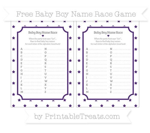Free Royal Purple Star Pattern Baby Boy Name Race Game