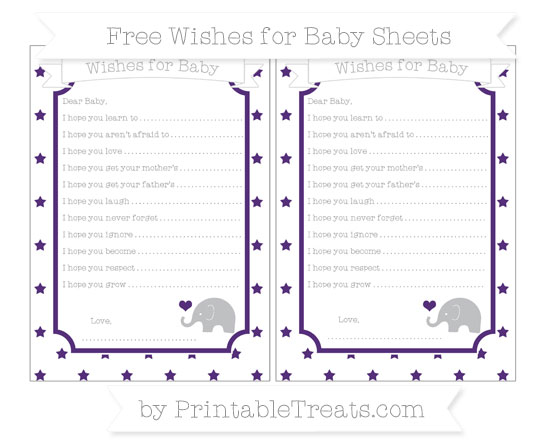 Free Royal Purple Star Pattern Baby Elephant Wishes for Baby Sheets