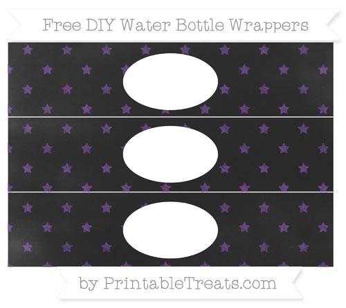 Free Royal Purple Star Pattern Chalk Style DIY Water Bottle Wrappers