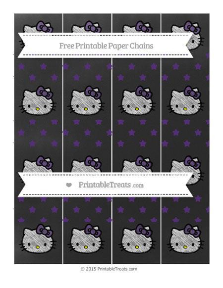 Free Royal Purple Star Pattern Chalk Style Hello Kitty Paper Chains