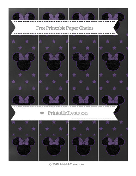 Free Royal Purple Star Pattern Chalk Style Minnie Mouse Paper Chains