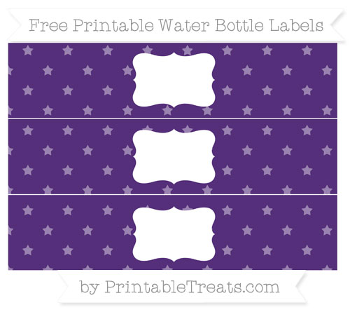 Free Royal Purple Star Pattern Water Bottle Labels