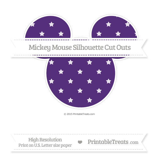 Free Royal Purple Star Pattern Extra Large Mickey Mouse Silhouette Cut Outs