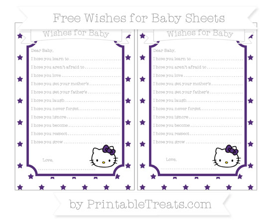 Free Royal Purple Star Pattern Hello Kitty Wishes for Baby Sheets
