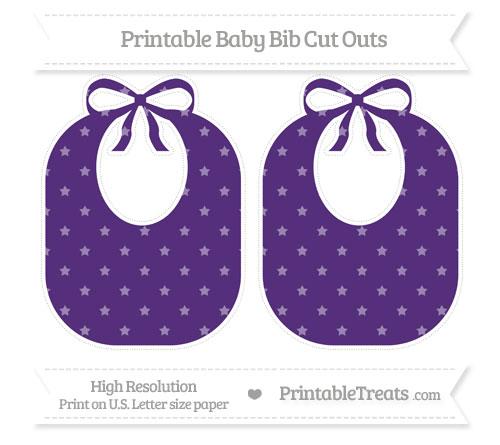 Free Royal Purple Star Pattern Large Baby Bib Cut Outs
