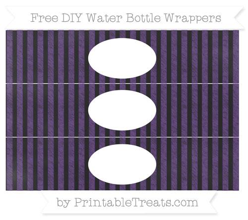 Free Royal Purple Striped Chalk Style DIY Water Bottle Wrappers