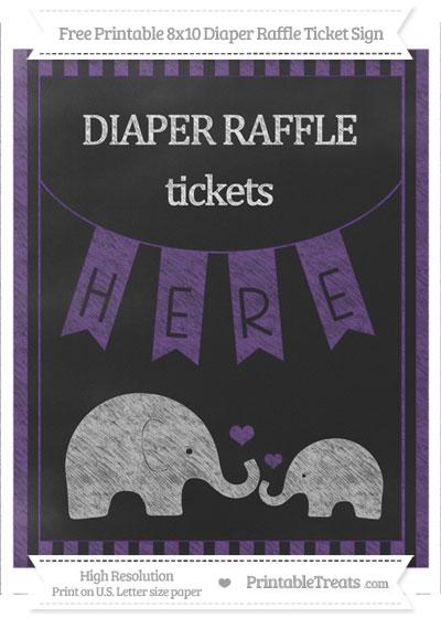 Free Royal Purple Striped Chalk Style Elephant 8x10 Diaper Raffle Ticket Sign