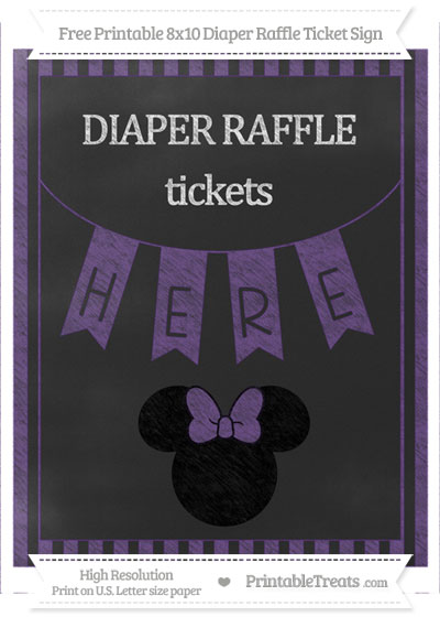 Free Royal Purple Striped Chalk Style Minnie Mouse 8x10 Diaper Raffle Ticket Sign