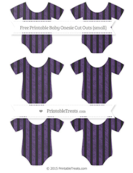 Free Royal Purple Striped Chalk Style Small Baby Onesie Cut Outs