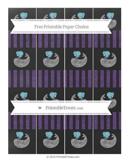 Free Royal Purple Striped Chalk Style Whale Paper Chains