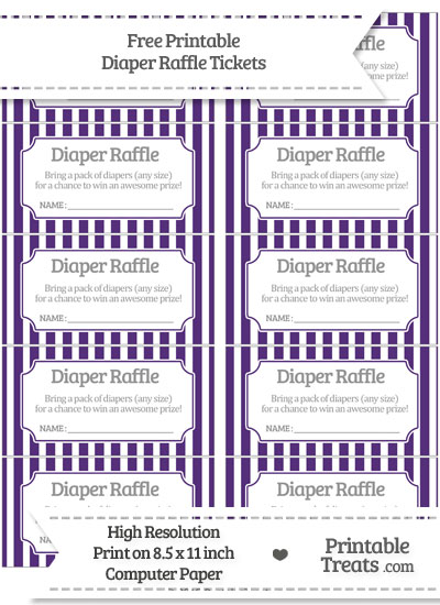 Free Royal Purple Striped Diaper Raffle Tickets