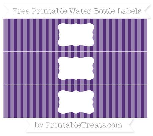 Free Royal Purple Striped Water Bottle Labels