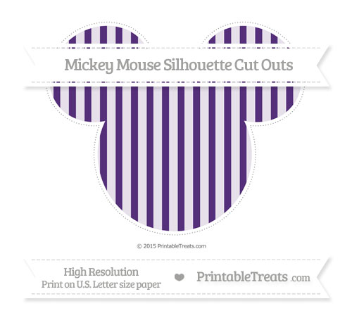 Free Royal Purple Striped Extra Large Mickey Mouse Silhouette Cut Outs