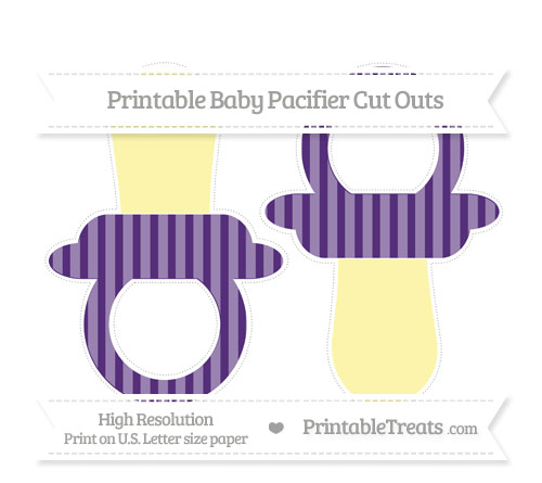 Free Royal Purple Striped Large Baby Pacifier Cut Outs