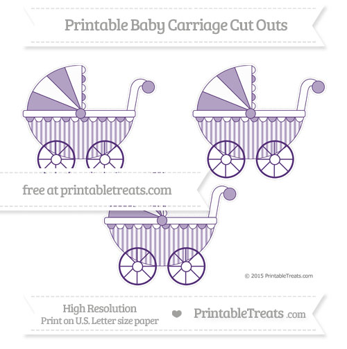 Free Royal Purple Striped Medium Baby Carriage Cut Outs