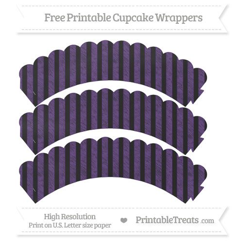 Free Royal Purple Striped Pattern Chalk Style Scalloped Cupcake Wrappers
