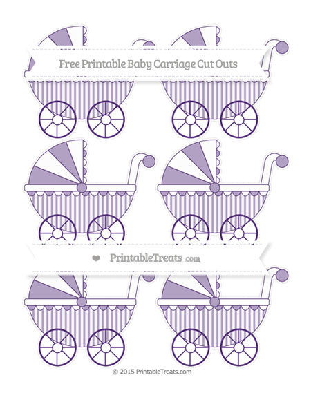 Free Royal Purple Striped Small Baby Carriage Cut Outs