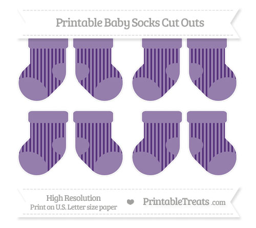 Free Royal Purple Striped Small Baby Socks Cut Outs