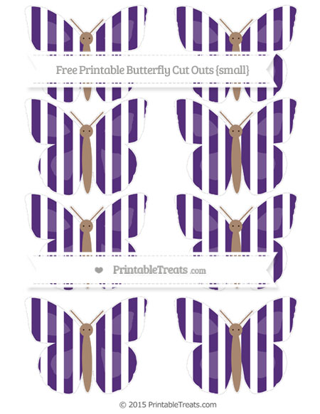 Free Royal Purple Striped Small Butterfly Cut Outs