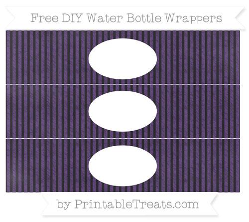 Free Royal Purple Thin Striped Pattern Chalk Style DIY Water Bottle Wrappers