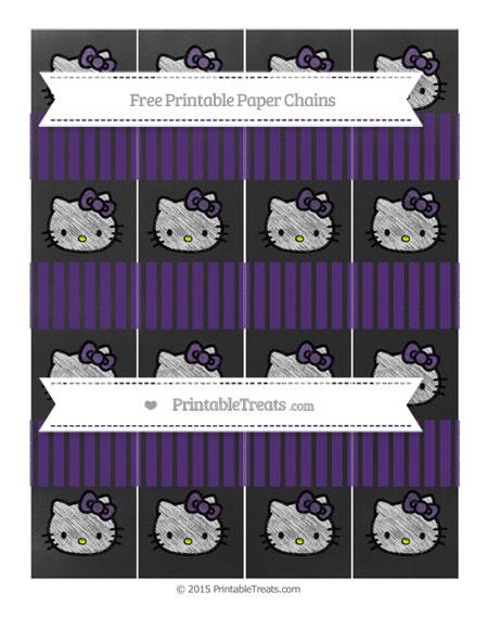 Free Royal Purple Thin Striped Pattern Chalk Style Hello Kitty Paper Chains