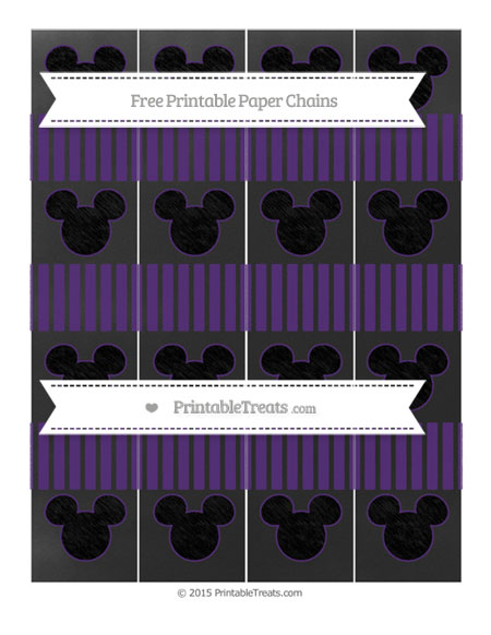 Free Royal Purple Thin Striped Pattern Chalk Style Mickey Mouse Paper Chains