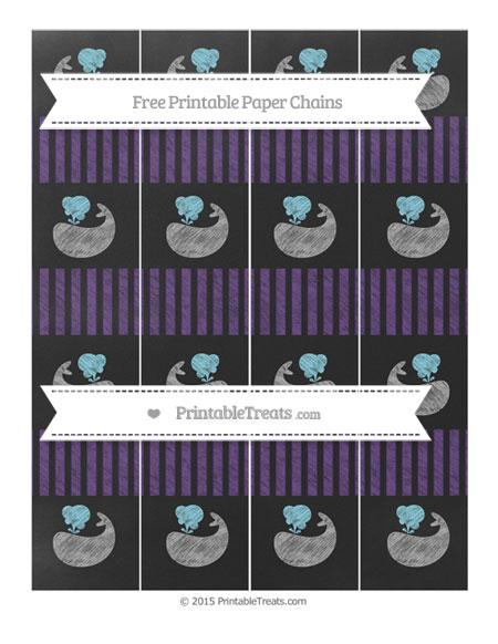 Free Royal Purple Thin Striped Pattern Chalk Style Whale Paper Chains