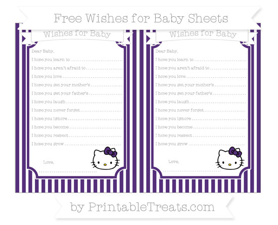 Free Royal Purple Thin Striped Pattern Hello Kitty Wishes for Baby Sheets