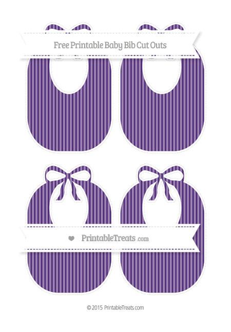 Free Royal Purple Thin Striped Pattern Medium Baby Bib Cut Outs