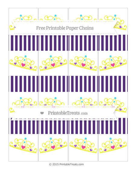 Free Royal Purple Thin Striped Pattern Princess Tiara Paper Chains