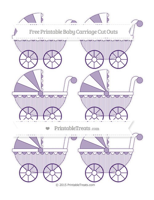 Free Royal Purple Thin Striped Pattern Small Baby Carriage Cut Outs