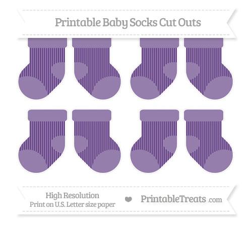 Free Royal Purple Thin Striped Pattern Small Baby Socks Cut Outs