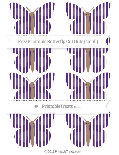 Free Royal Purple Thin Striped Pattern Small Butterfly Cut Outs