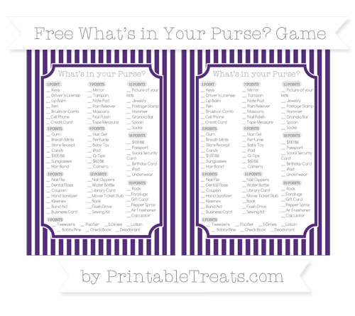 Free Royal Purple Thin Striped Pattern What's in Your Purse Baby Shower Game