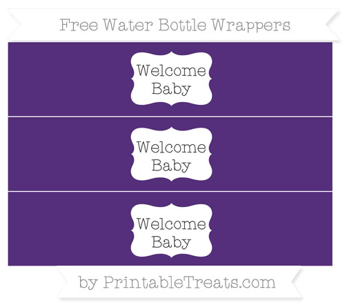 Free Royal Purple Welcome Baby Water Bottle Wrappers