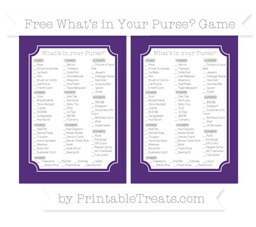 Free Royal Purple What's in Your Purse Baby Shower Game
