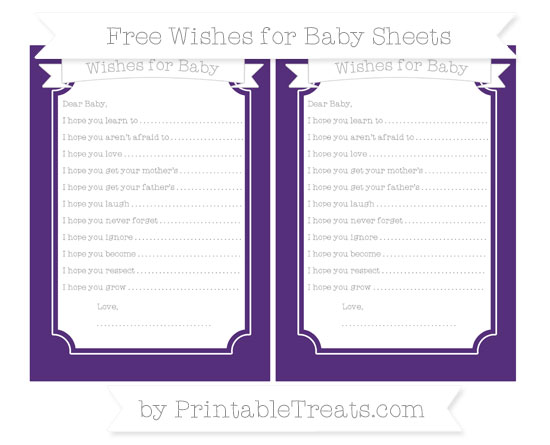 Free Royal Purple Wishes for Baby Sheets