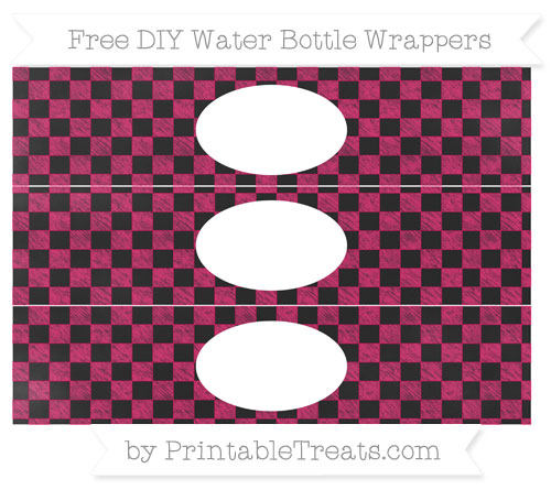 Free Ruby Pink Checker Pattern Chalk Style DIY Water Bottle Wrappers