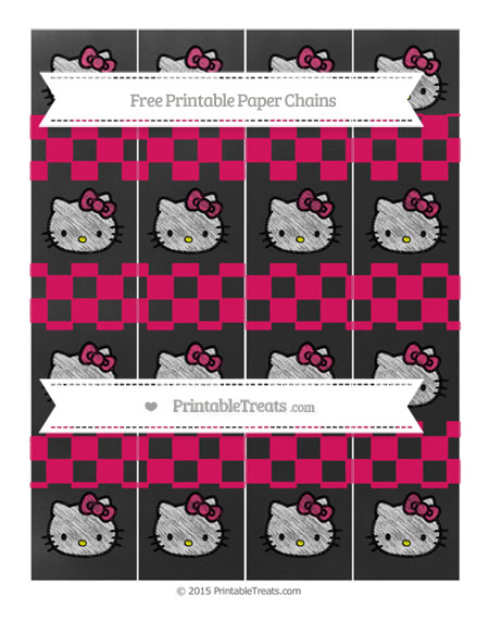 Free Ruby Pink Checker Pattern Chalk Style Hello Kitty Paper Chains
